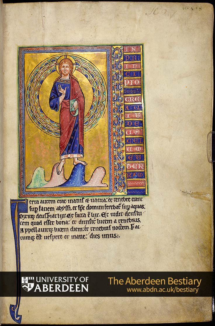 Folio 1r - In principio...; the Creation | The Aberdeen Bestiary | The University of Aberdeen