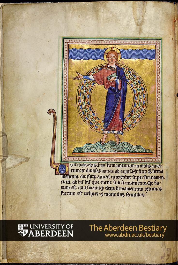 Folio 1v - Creation of the waters and the firmament | The Aberdeen Bestiary | The University of Aberdeen