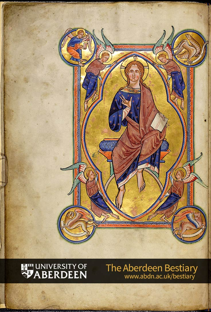 Folio 4v - Christ in Majesty | The Aberdeen Bestiary | The University of Aberdeen