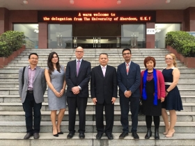 (L-R): Professor Chai Shaoming Vice Dean, International Business College; Ms Tania Fahey Palma, Dean of Internationalisation (China); Professor Jeremy Kilburn Senior Vice-Principal; Vice-President Professor Wu Jian; Dr Harminder Battu, University of Aberdeen Business School; Professor Wu Jianli, Dean of International Business College; Ms Melanie Viney, Partnerships Officer