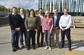 Left to right: Lynden Miles, David Muirhead, Laura McCann, Amin Sharifi, Aloyise Mulligan, Alex Douglas, Stuart Durkin
