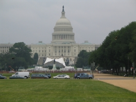 Capitol Building with stage in front