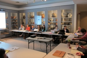 Seminar group and native american pottery cases