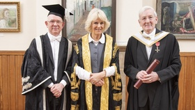 The Principal & Vice-Chancellor and HRH The Duchess of Rothesay with honorary graduate Eddie Stevenson