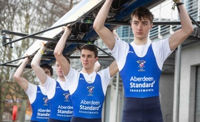 Members of the Aberdeen University Boat Club in preparations for this year's Aberdeen Standard Investments Boat Race