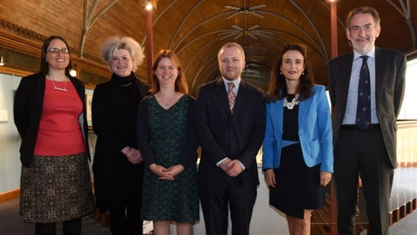 (L-R) Dr Amy Bryzgel, Dr Heather Morgan, Dr Annie Robinson, Dr Gordon Noble, Dr Alex Johnstone, Professor Sir Ian Diamond