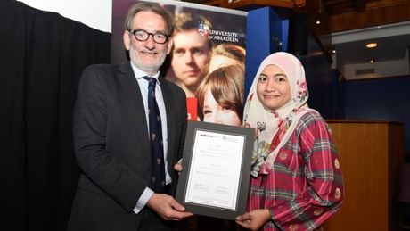 Norul Latif, a postgraduate researcher, won the award for Outstanding Achievement in Public Engagement in the Biomedical Sciences, supported by the University's Wellcome Trust Institutional Strategic Support Fund