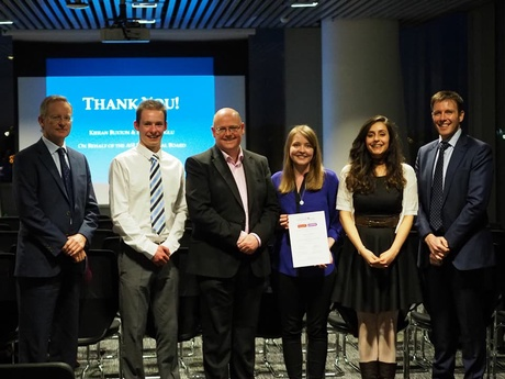 Pictured left to right Ewan Neilson (Partner, Head of Energy at Stronachs) Kieran Buxton, Dr.Greg Gordon (Head of School),  Rachel Bain (Prize Winner) Ezgi Ediboglu,  and Malcolm Gunnyeon (Partner Dentons)