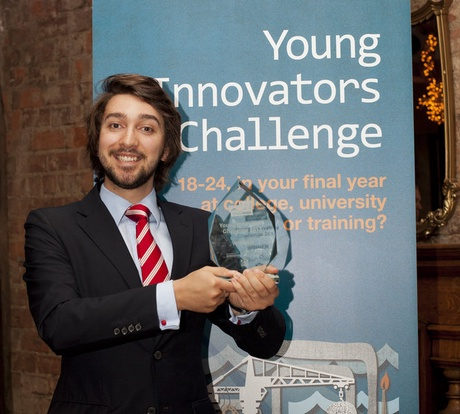 University of Aberdeen graduate Blair Bowman celebrates winning the Young Innovators Challenge award