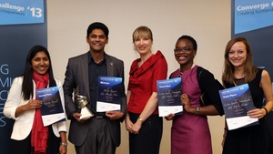 Mr Madhu Nair celebrates after winning the top prize at the 2013 Converge Challenge Awards