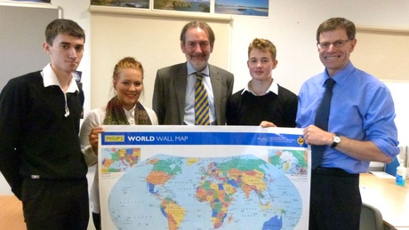 Prof Ian Diamond (centre) and Neil Morrison (right) with Geography pupils at Portlethen Academy