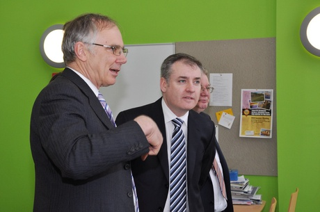 Professor Monty Priede and Cabinet Secretary for Rural Affairs and the Environment Richard Lochhead MSP