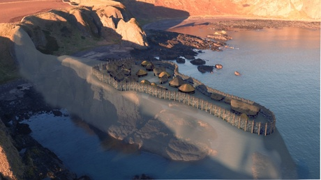 New video footage shows an artist's impression of what the settlement at Dunnicaer may have looked like