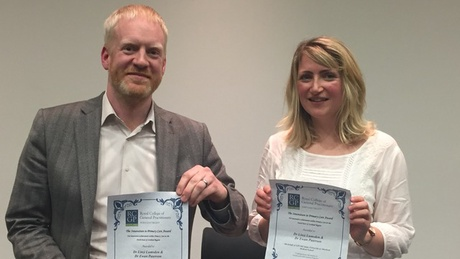 Dr Ewan Paterson and Dr Linzi Lumsden with their award from RCGP North East Scotland