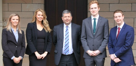 Lord Advocate Frank Mulholland QC (centre) with (from left to right) Lindsay McCormick, Caitlin Hurst, David Ridley and Fraser Stewart, all from the Aberdeen Law Project.