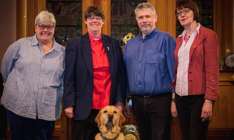 Singing Hands members. From left, Lesley Crerar, Mary Whittaker, Doug Leiper, Anne Whittaker and front, Scott Mary's hearing dog.