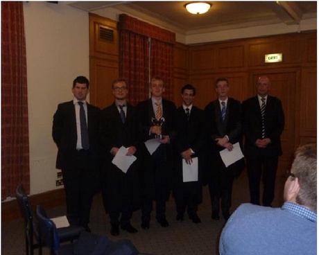From the left, Neale Tosh, Lukaxz Andrzej, Jan Scholz, David D'Aleo,Fraser Stewart and Sheriff Peter Hammond.