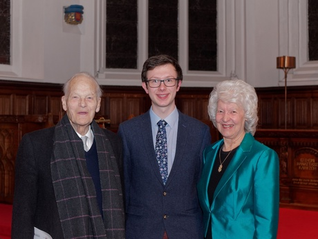 (L-R) Professor Derek Ogston, James Aburn and Margaret Carlaw