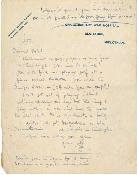 Letter written by Siegfried Sassoon