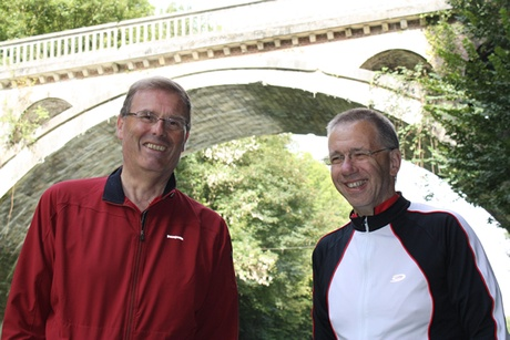 Mr Tom Scotland (in red) and Professor Steve Heys taken in September 2011 while on a cycling holiday visiting the Western Front in France.