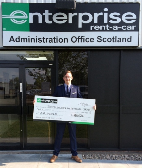 Sponsors, Enterprise Rent-A-Car, donated the £750 award