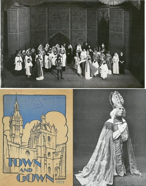 "Town and Gown (1933-34): Cast, ""souvie"" cover and Keith Conn as Bishop Elphinstone"