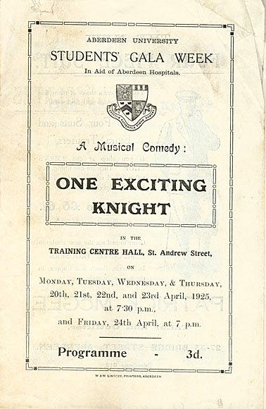 The Programme cover for 1925's 'One Exciting Knight'