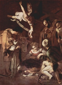 Caravaggio, Nativity With St Francis and St Lawrence (1609); image via Wikimedia Commons