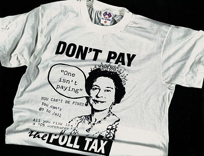 t-shirt titled 'Don't pay the Poll Tax'