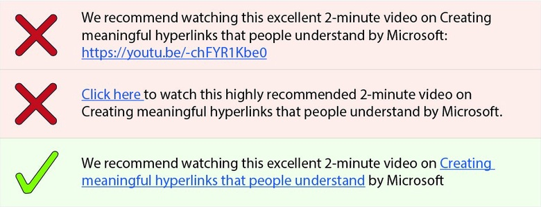 Alt text for image: Don't do this. Watch this excellent 2-minute video on Creating meaningful hyperlinks that people understand by Microsoft: https://youtu.be/-chFYR1Kbe0 Don't do this. Click here to watch this excellent 2-minute video on Creating meaningful hyperlinks that people understand. Do this. Microsoft have an excellent 2-minute video on Creating meaningful hyperlinks that people understand.