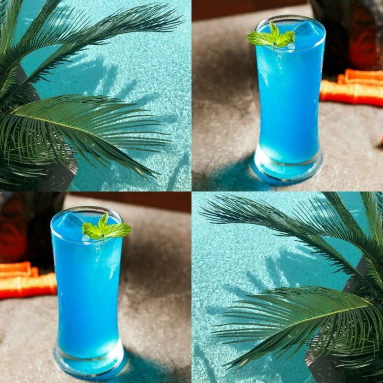 Bright blue cocktail in a highball glass