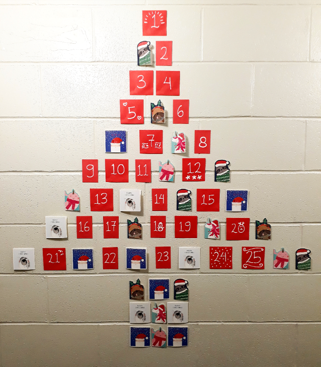 xmas tree advent calendar made from paper and cards