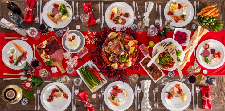 Photograph of a Christmas dinner