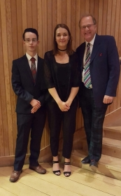 Euan Thompson and Jennifer Baird pictured with Mike Graham (the Scottish national rep for ICCC)