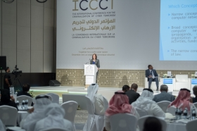 Dr Couzigou presenting at the Conference for the Criminalization of Cyber Terrorism in Abu Dhabi