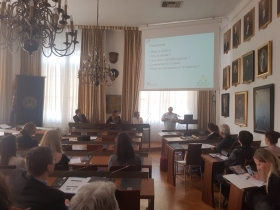 Professor Hunter presenting at the University of Zagreb