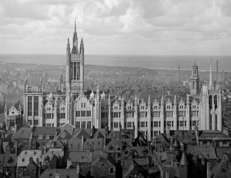 VIEW OF MARISCHAL COLLEGE LOOKING TOWARDS THE SEA IN THE DISTANCE SHOWING HOUSING ON GUESTROW IN FOREGROUND
