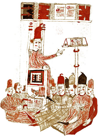 Image shows a master delivering a lecture to his class. MS 109, Gisbert de Buscoducis: Lectures on Aristotle.