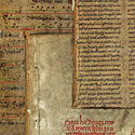 Image showing four of Liddel's books bound in vellum manuscript waste: pi 52089 a; pi 5204 Bra 1; pi 6102 Lid di; pi 6102 Lid dis.