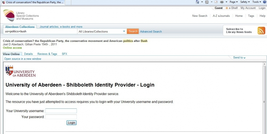 Shibboleth login