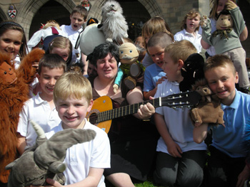 Sheena Blackhall was mobbed by ethusiastic pupils from Seaton Primary at the start of the WORD Schools Festival