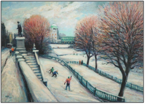 painting by Eric Auld of Union Terrace Gardens