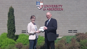 Jillian Whyte receiving her iPad