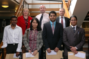 Thiruprakassh Suppiah, Rachel Kennedy, Aberdeen Association of Civil Engineers, Meruyert Bukharbayeva; Dr Neill Renton, Lecturer and Vice-Chairman of Aberdeen Members Group of the ICE, Fawad Khan, Colin Coia, Thales UK, Mahesa Bhawanin