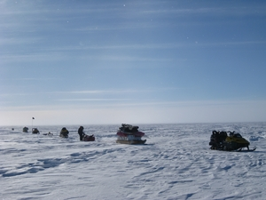 Equipment being towed across the ice surface (Credit: Rob Bingham)