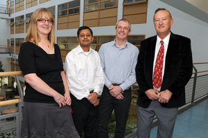 Dr Julie Crockett, Subhajit Das, Professor Mike Rogers and Richard Simcox