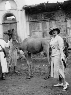 Princess Alice with a camel