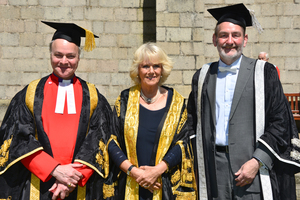 The Very Reverend Professor Iain Torrance and University Pro-Chancellor; HRH The Duchess of Rothesay and Chancellor of the University, and Professor Sir Ian Diamond, Principal and Vice-Chancellor of the University