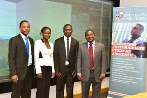 L-R Michael Afari from Ghana; Mary Najjuima from Uganda ; Prince Afful from Ghana; Kheri Mahimbali from Tanzania