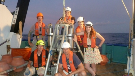 The scientific team from voyage with one of the deep sea landers. Clockwise from Alan Jamieson (in yellow hat), Thom Linley, Ryan Eustace, Mackenzie Gerringer, Heather Ritchie, Steve Bailey. Photo copyright of Oceanlab, University of Aberdeen, UK